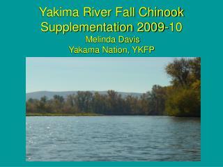 Yakima River Fall Chinook Supplementation 2009-10  Melinda Davis Yakama Nation, YKFP