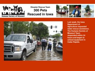 Disaster Rescue Team 300 Pets  Rescued in Iowa