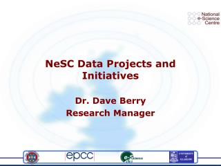 NeSC Data Projects and Initiatives
