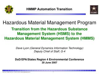Hazardous Material Management Program Transition from the Hazardous Substance