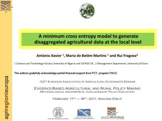 A minimum cross entropy model to generate disaggregated agricultural data at the local level