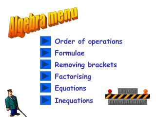 Algebra menu