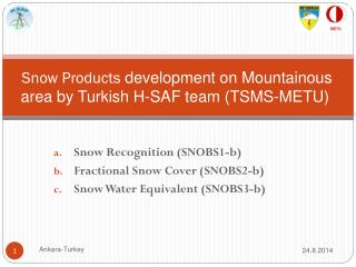 Snow Products  development on Mountainous area by Turkish H-SAF team (TSMS-METU)