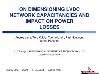 ON DIMENSIONING LVDC NETWORK CAPACITANCIES AND IMPACT ON POWER LOSSES