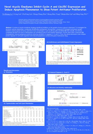 Novel Acyclic Enediynes Inhibit Cyclin A and Cdc25C Expression and