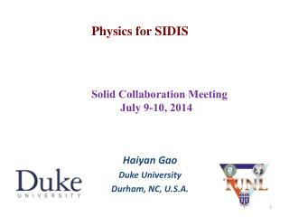 Physics for SIDIS