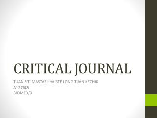 CRITICAL JOURNAL