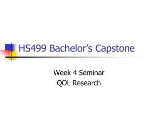 HS499 Bachelor's Capstone