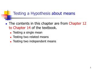 Testing a Hypothesis  about means