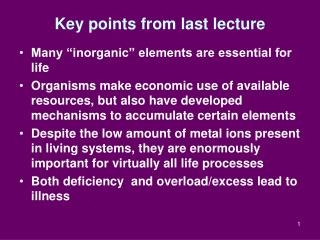 Key points from last lecture