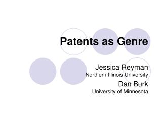 Patents as Genre