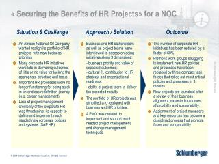 « Securing the Benefits of HR Projects» for a NOC