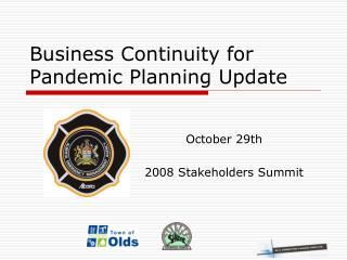 Business Continuity for Pandemic Planning Update