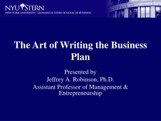 The Art of Writing the Business Plan