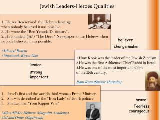 1.  Eliezer  Ben revived  the Hebrew language  when nobody believed it was possible.