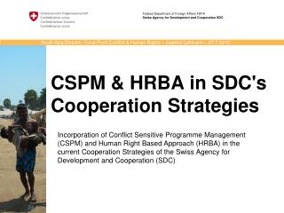 CSPM & HRBA in SDC's Cooperation Strategies