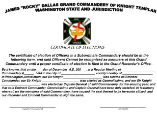 CERTIFICATE OF ELECTIONS