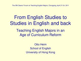 From English Studies to Studies in English and back