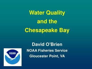 Water Quality  and the Chesapeake Bay David O'Brien NOAA Fisheries Service  Gloucester Point, VA