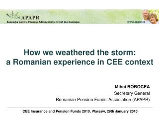 CEE Insurance and Pension Funds 2010, Warsaw, 29th January 2010