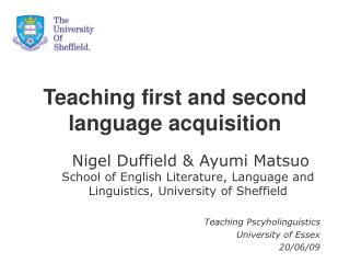 Teaching first and second language acquisition