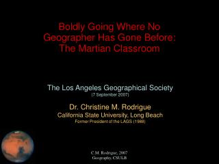 Boldly Going Where No Geographer Has Gone Before: The Martian Classroom