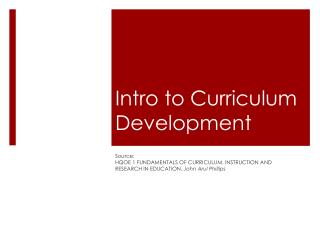 Intro to Curriculum Development