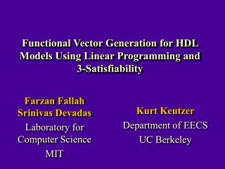 Functional Vector Generation for HDL Models Using Linear Programming and  3-Satisfiability