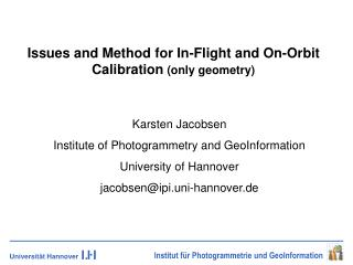 Issues and Method for In-Flight and On-Orbit Calibration  (only geometry)