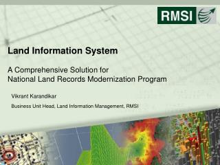 Land Information System  A Comprehensive Solution for National Land Records Modernization Program