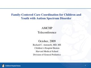 Family-Centered Care Coordination for Children and Youth with Autism Spectrum Disorder