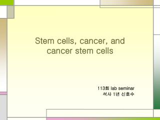 Stem cells, cancer, and cancer stem cells
