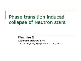 Phase transition induced collapse of Neutron stars