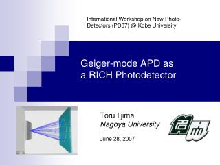Geiger-mode APD as  a RICH Photodetector
