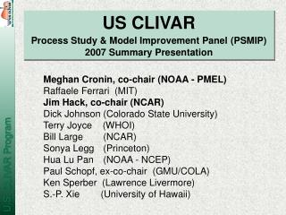 US CLIVAR Process Study & Model Improvement Panel (PSMIP) 2007 Summary Presentation