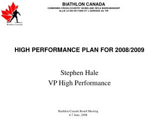 HIGH PERFORMANCE PLAN FOR 2008/2009