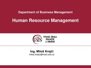 Department of Business Management Human Resource Management