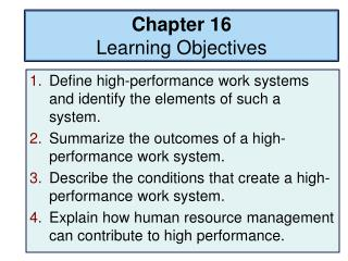 Chapter 16 Learning Objectives