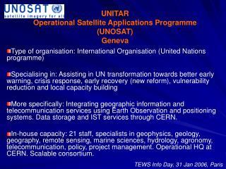 UNITAR  Operational Satellite Applications Programme (UNOSAT) Geneva