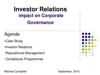 Investor Relations impact on Corporate Governance