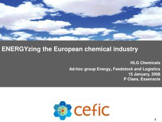 ENERGYzing the European chemical industry HLG Chemicals Ad-hoc group Energy ,  Feedstock and Logistics 15 January, 2008