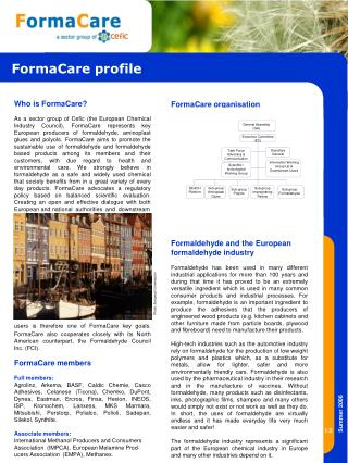 Who is FormaCare As a sector group of Cefic the European ...