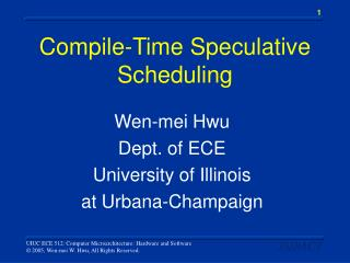 Compile-Time Speculative Scheduling