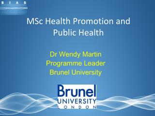 MSc Health Promotion and Public Health