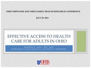 Effective Access to Health Care for Adults in Ohio