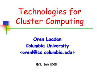 Technologies for Cluster Computing