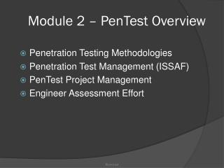 Module 2 – PenTest Overview