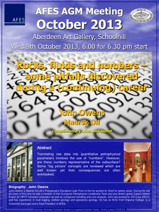 Aberdeen Art Gallery,  Schoolhill Wed 9th October 2013, 6.00 for 6.30 pm start