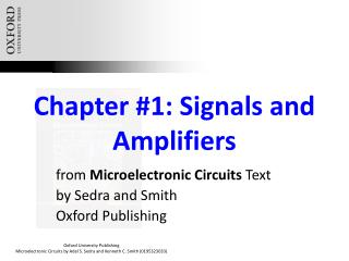 Chapter #1: Signals and Amplifiers