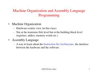 Machine Organization and Assembly Language Programming